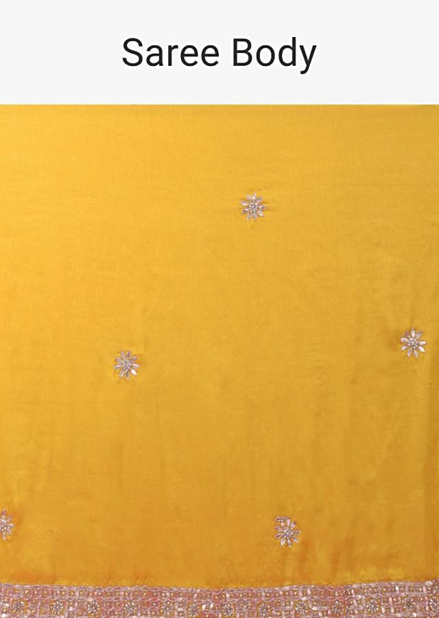 Corn Yellow Saree In Silk With Gotta Patches And Green Silk Blouse Online - Kalki Fashion