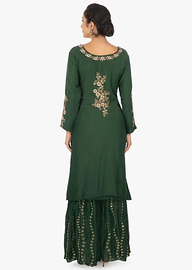 Cotton dark green palazzo suit zari and resham and zari embroidery only on Kalki
