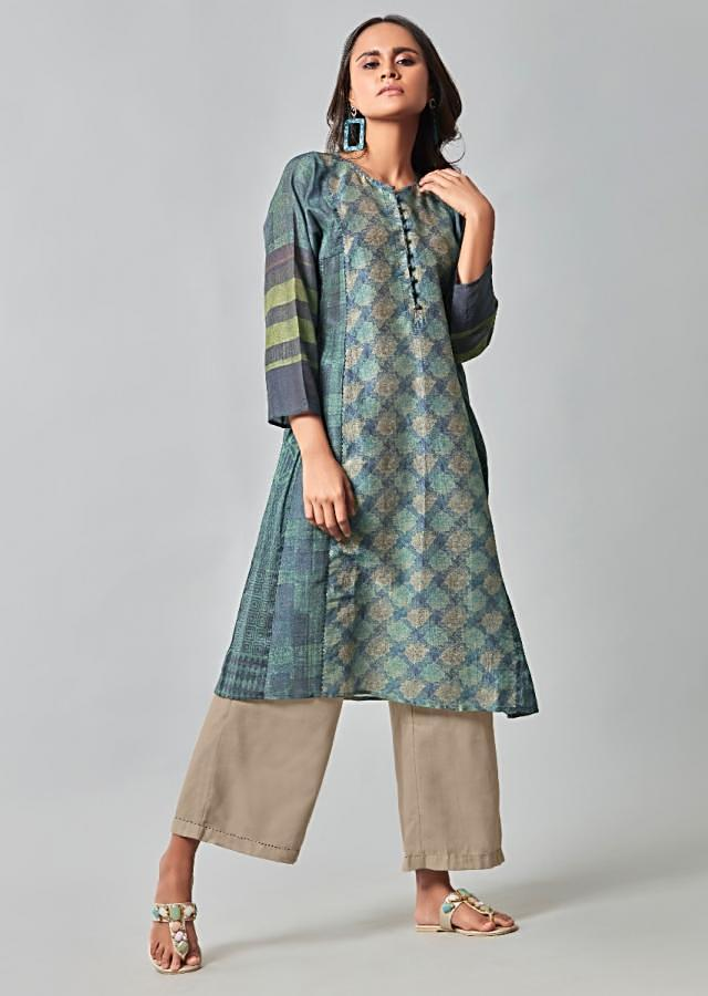 Cotton Kurti In Shades Of Blue With Hush Beige Straight Cut Pants Online - Kalki Fashion
