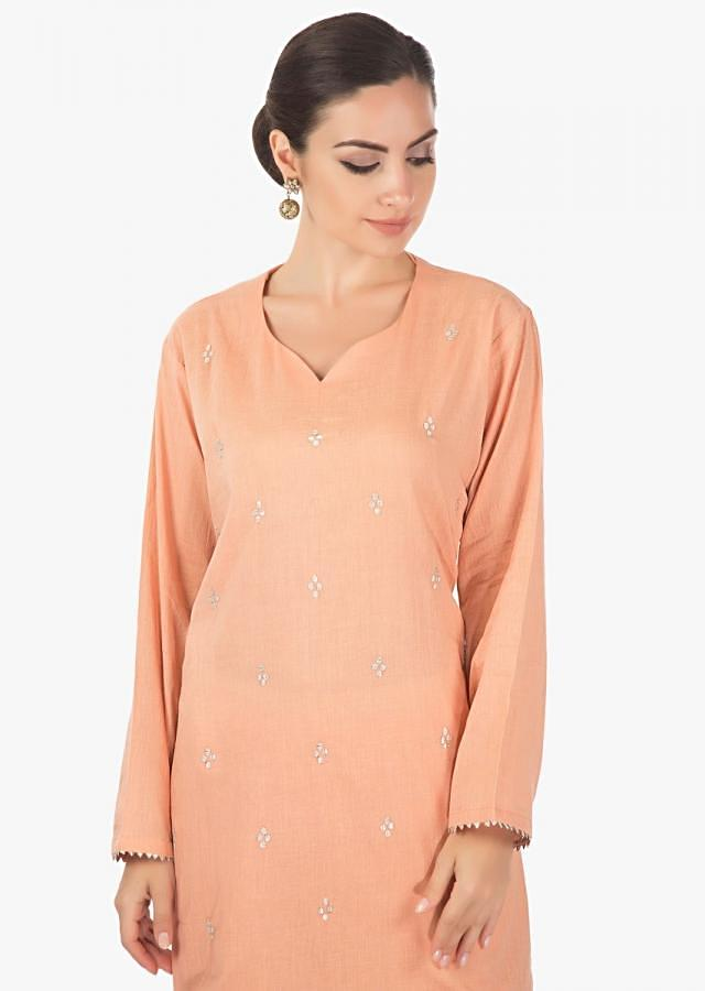 Cotton Peach  full sleves kurti   with a matching plazzo  studed with gotta lace only on kalki