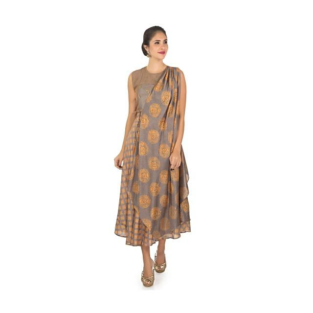 Cotton print kurti with over lapping jacket  only on Kalki