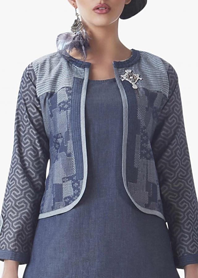 Cotton Grey suit with jacket adorn with fancy stone work