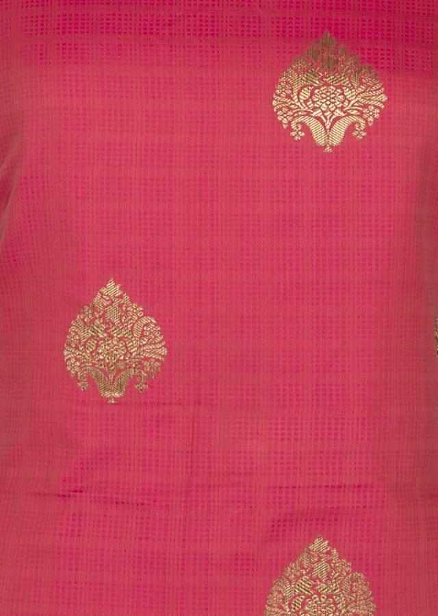 Cotton Jacquard Coral Unstitched suit with weaved borders only on Kalki