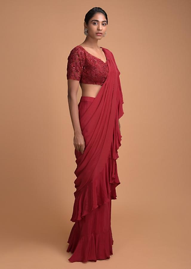Cranberry Red Ready Pleated Ruffle Saree With Floral Embellished Blouse Online - Kalki Fashion