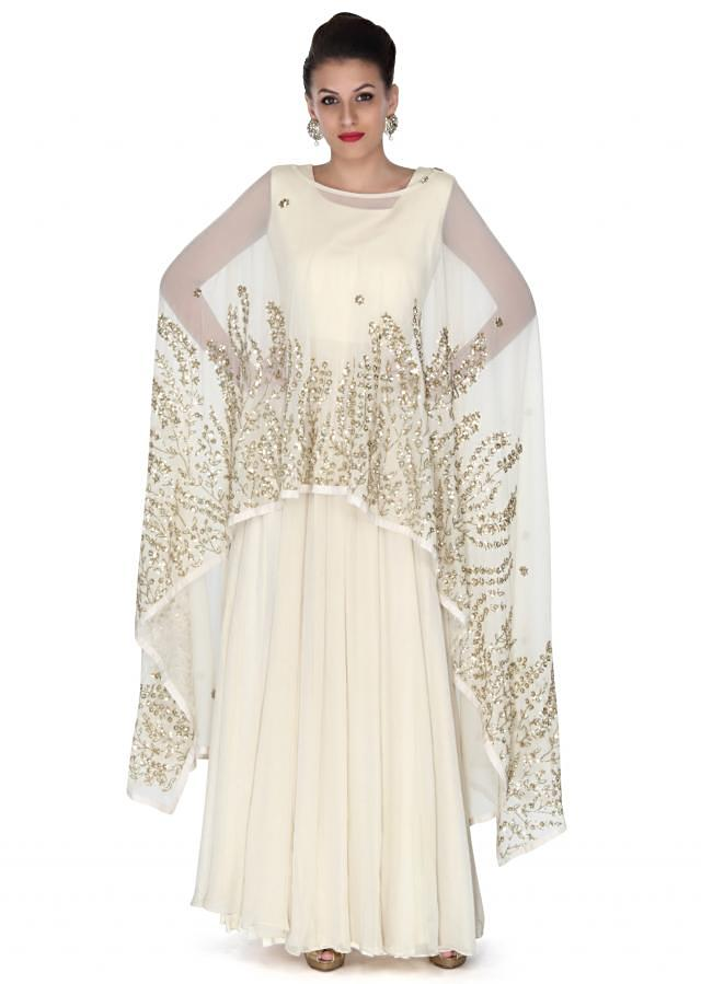 Cream anarkali matched with embroidered cape only on Kalki