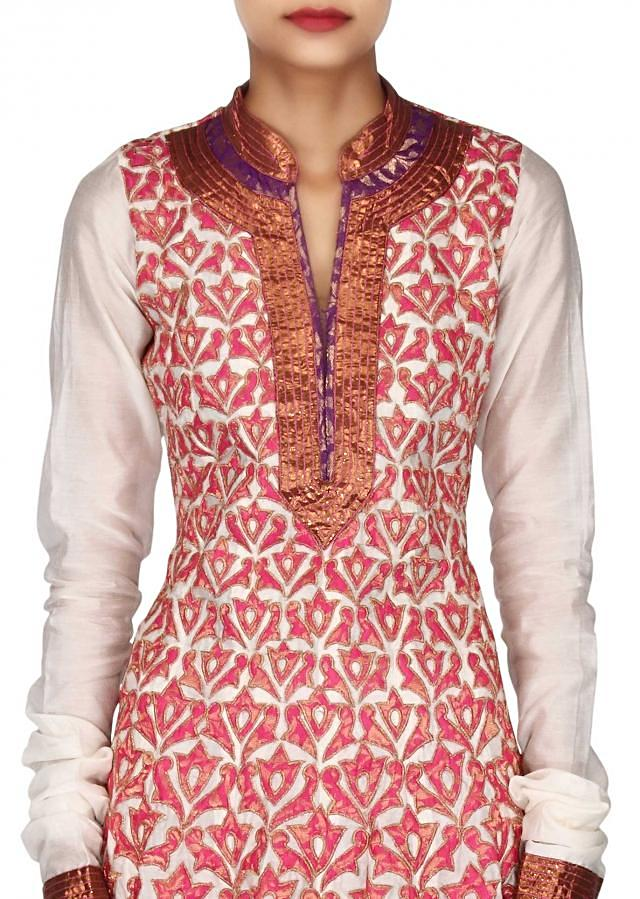 Cream anarkali suit adorn in applique embroidery only on Kalki