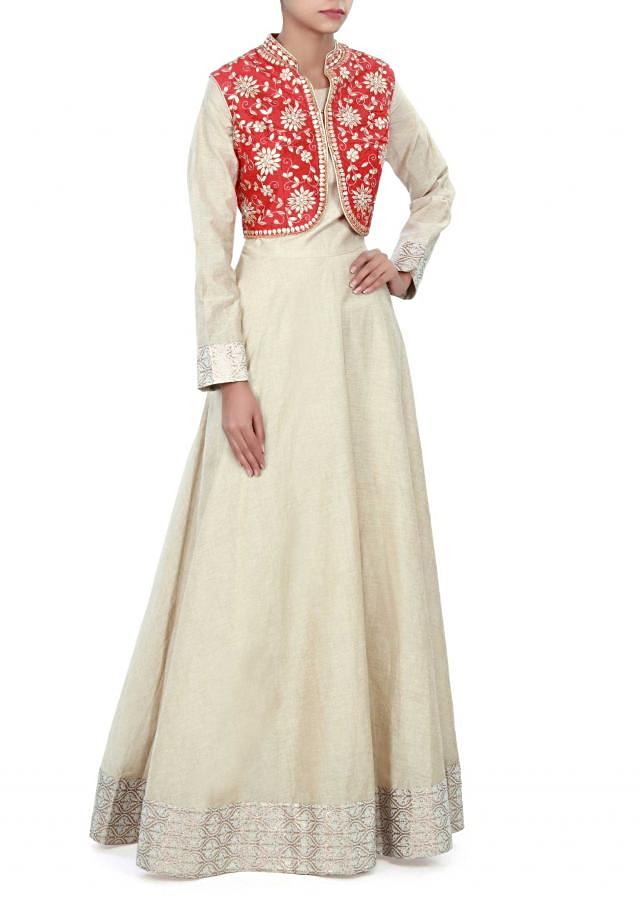 Cream anarkali suit adorn in gotta patch work only on Kalki