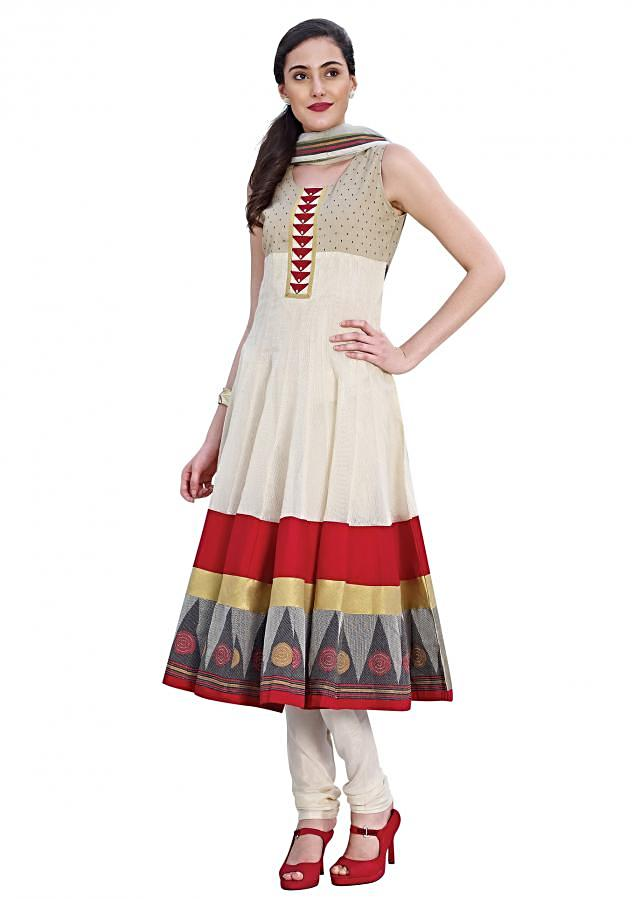 Cream anarkali suit adorn in resham and applique work