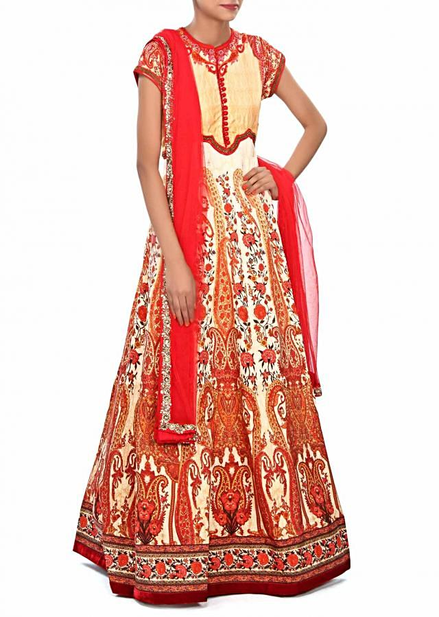 Cream anarkali suit embellished in digital print only on Kalki