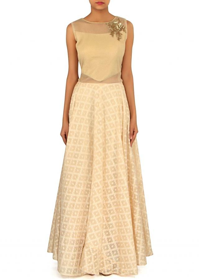 Cream anarkali suit embellished in sequin and zardosi butti only on Kalki