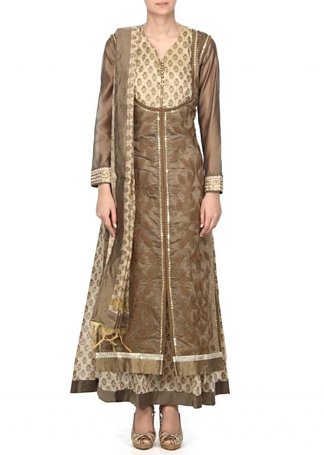 Cream anarkali suit embellished in threadembroidery only on Kalki