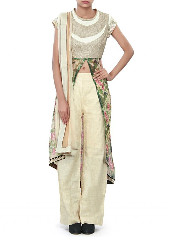 Cream anarkali suit embellished in zari and thread embroidery only on Kalki