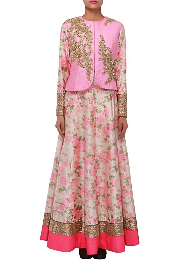Cream anarkali suit enhanced in floral print and zardosi and sequin embroidery only on Kalki