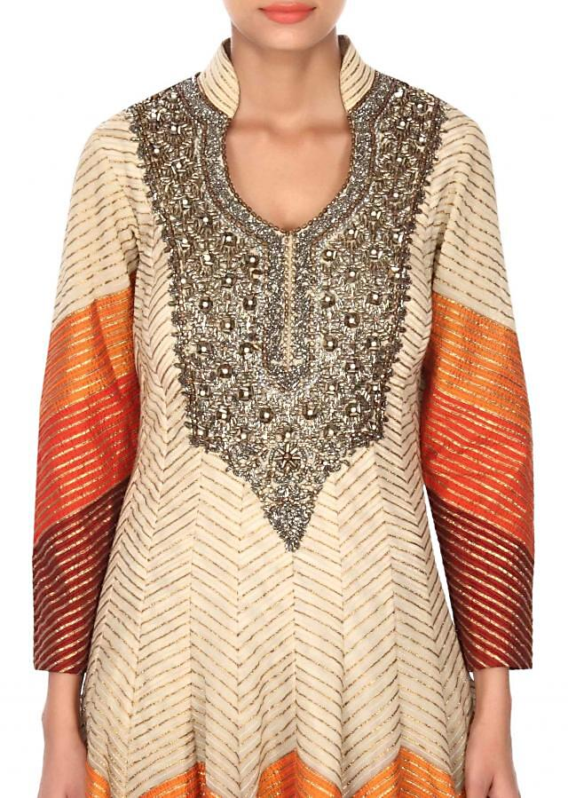 Cream anarkali suit in gotta lace and zari embroidery only on Kalki