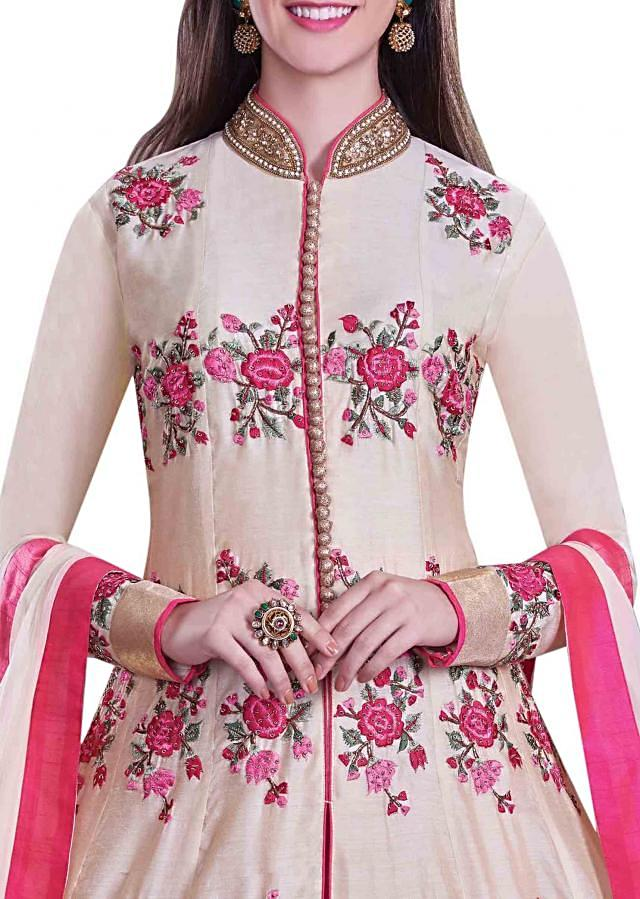 Cream anarkali suit in pink resham embroidery