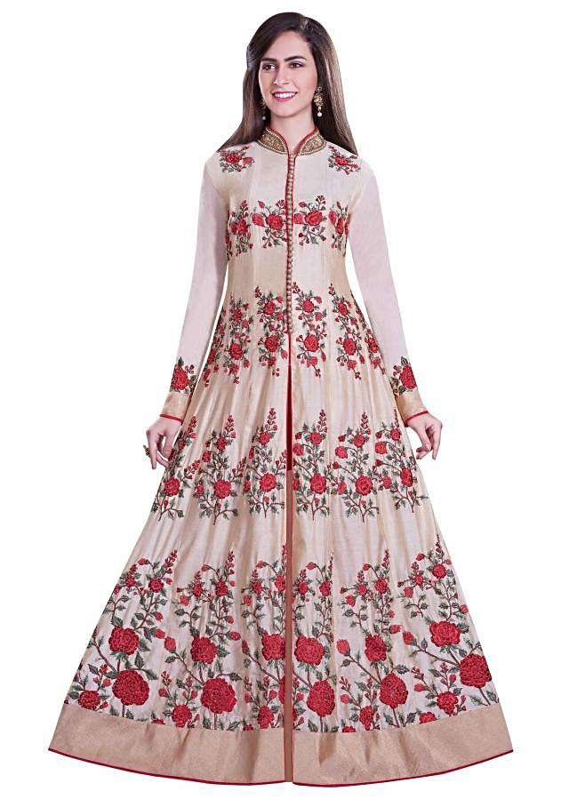 Cream anarkali suit in red resham embroidery