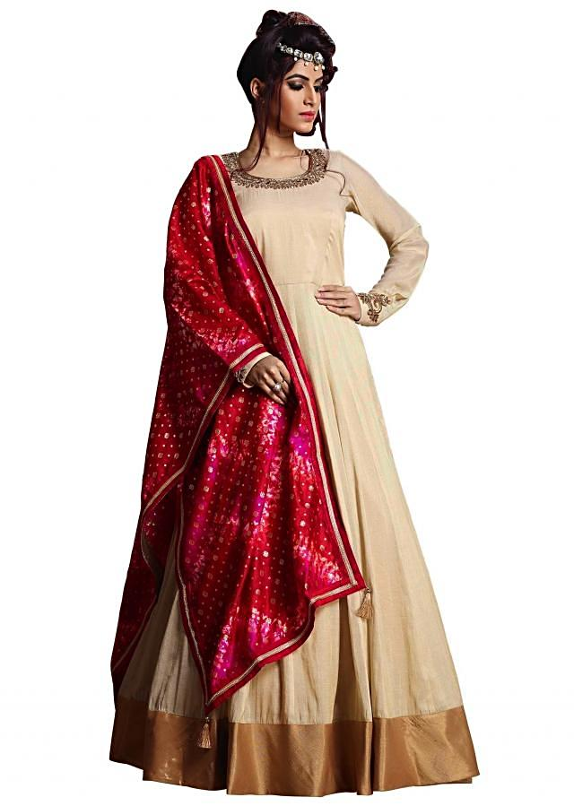 Cream anarkali suit with pink tie and dye dupatta