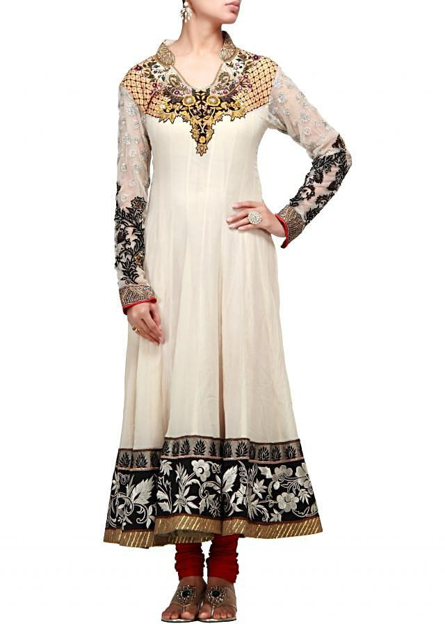 Cream anarkali suit with resham and zari embroidery