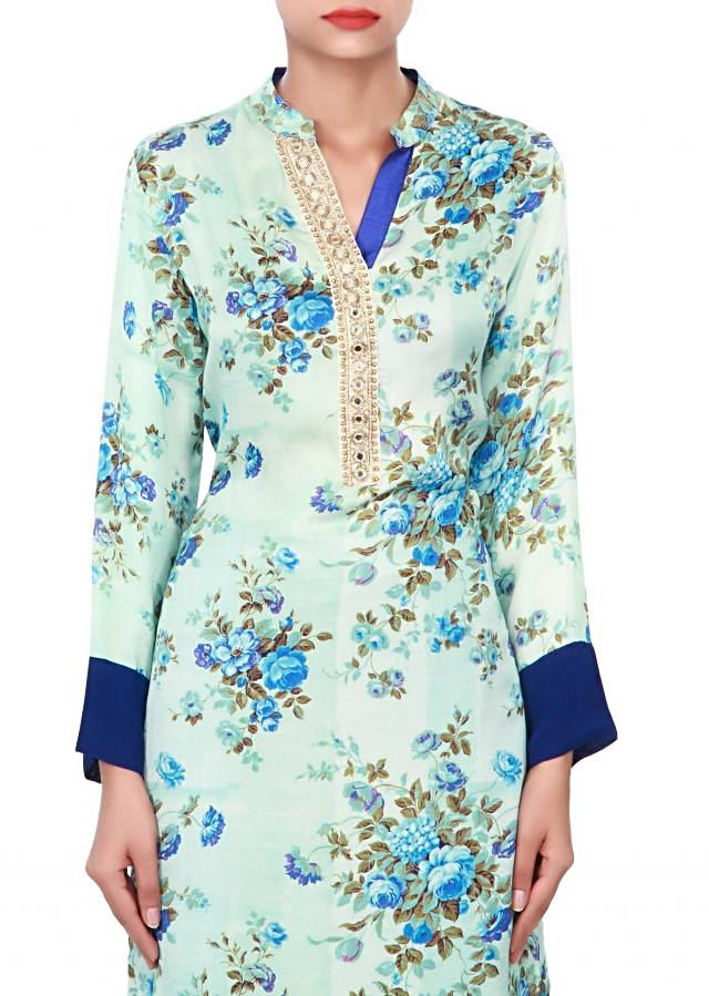 Cream and blue kurti adorn in print and mirror embroidered placket only on Kalki
