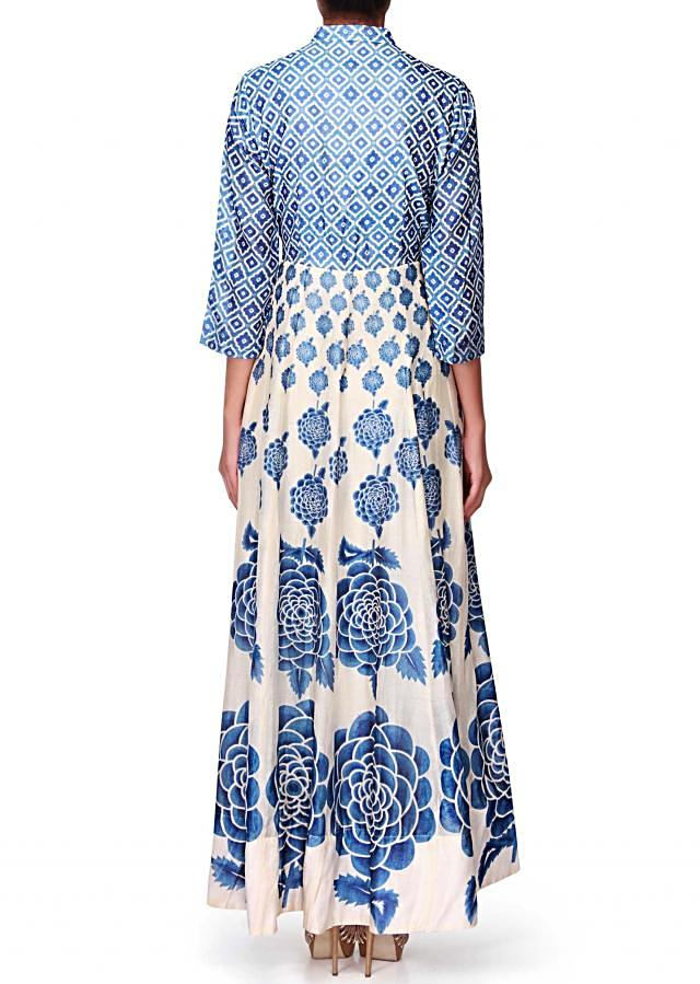 Cream and blue long maxi dress in floral print only on Kalki