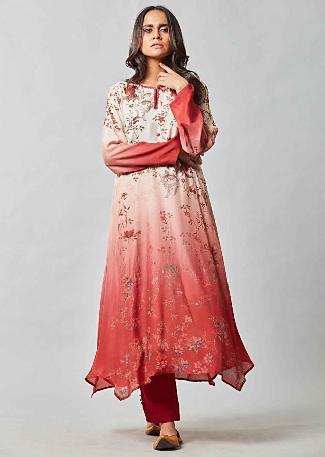 Cream And Brick Red Ombre Suit In Printed Cotton With Brick Red Cigarette Pants Online - Kalki Fashion