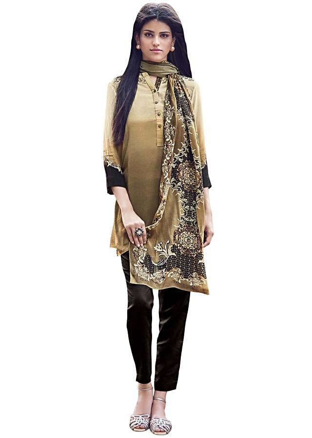 Cream and brown kurti with abstract printed scarf