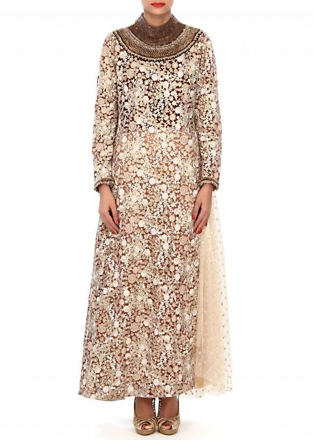 Cream and brown suit enhanced in sequin and thread embroidery only on Kalki