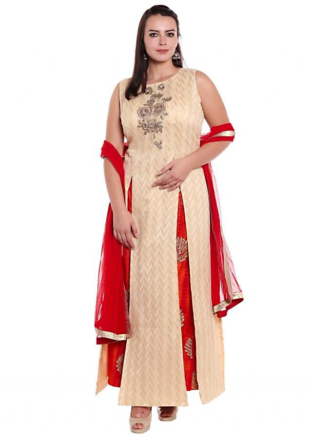 Cream and gold A line suit with slits and embroidered butti only on Kalki
