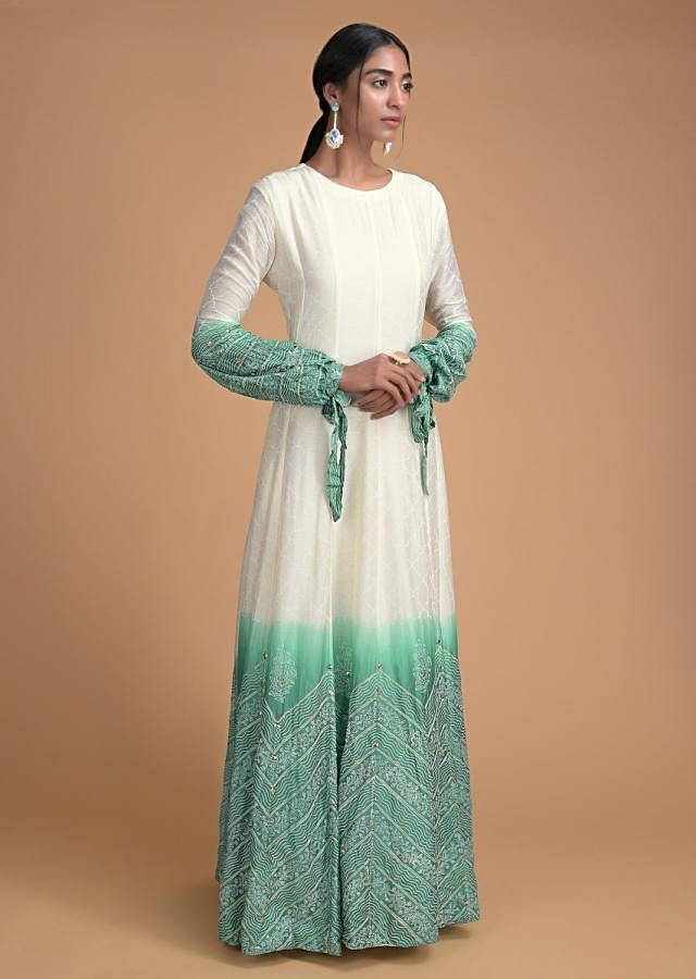 Cream And Green Ombre Anarkali Suit With Moroccan And Geometric Print Online - Kalki Fashion
