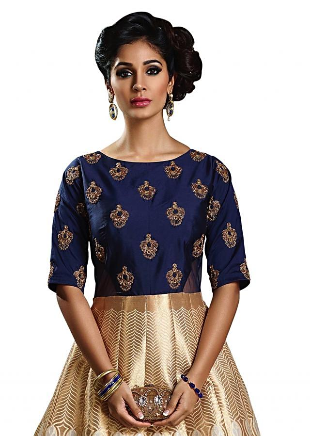 Cream and navy blue anarkali suit in mirror embroidered butti