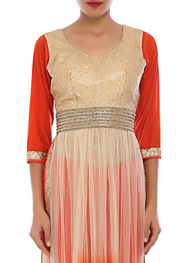 Cream and orange straight suit embellished in sequin and kundan embroidery only on Kalki