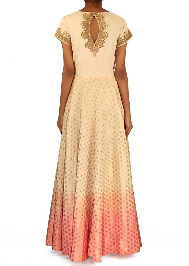 Cream and peach anarkali suit with zardosi bodice only on Kalki