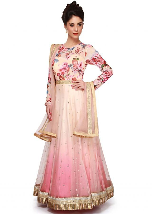 Cream and pink anarkali suit enhanced in floral printed yoke only on Kalki