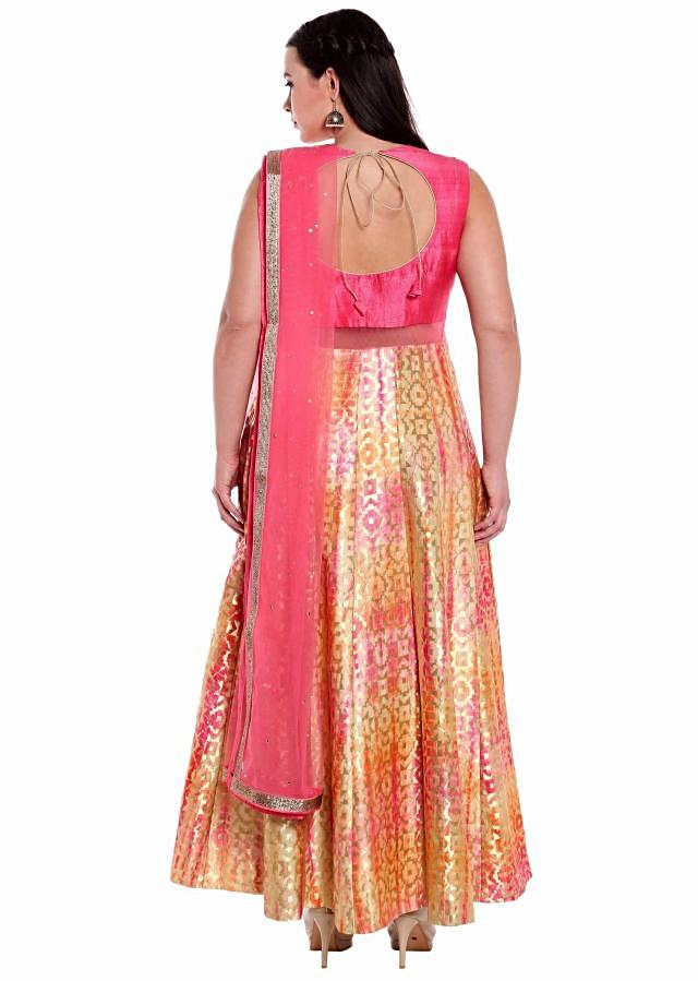 Cream and pink anarkali suit with batik tie and dye print only on Kalki