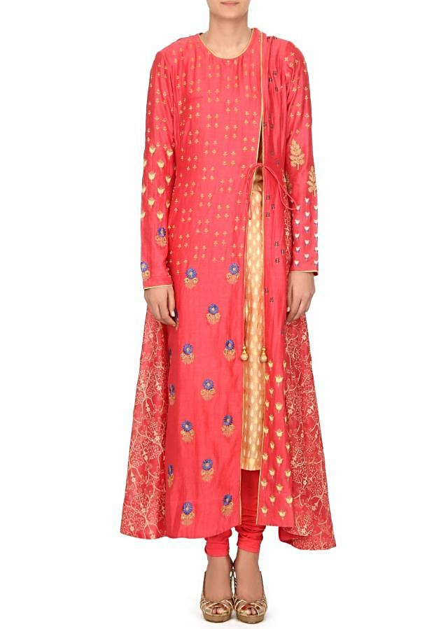 Cream and pink angarkha suit in print and resham only on Kalki
