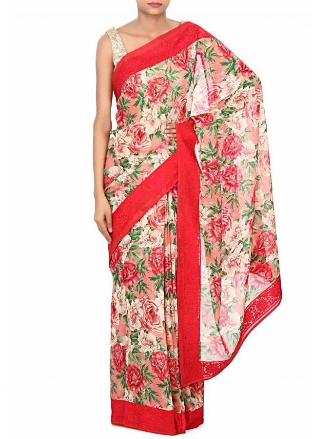 Cream and pink saree in floral print only on Kalki