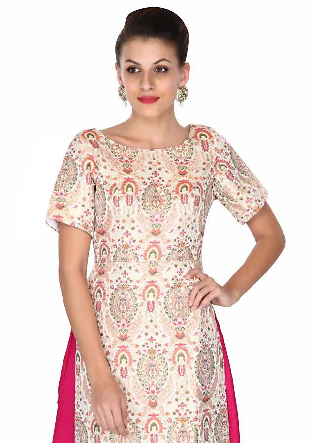 Cream and pink straight suit in brocade with palazzo pant only on Kalki