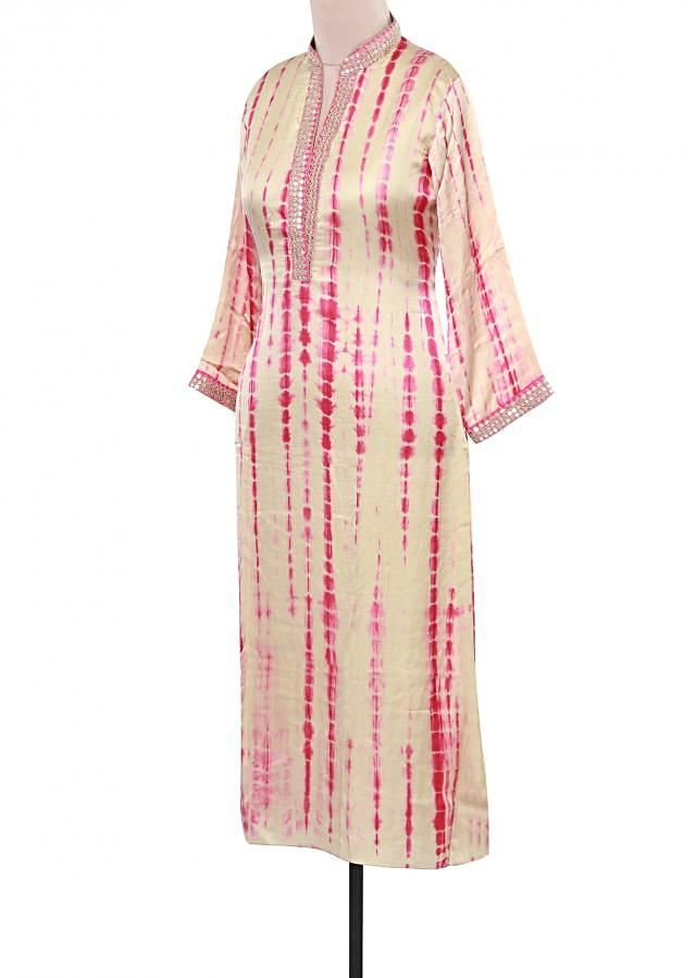 Cream and pink tie and dye kurti adorn in zari and sequin embroidery only on Kalki