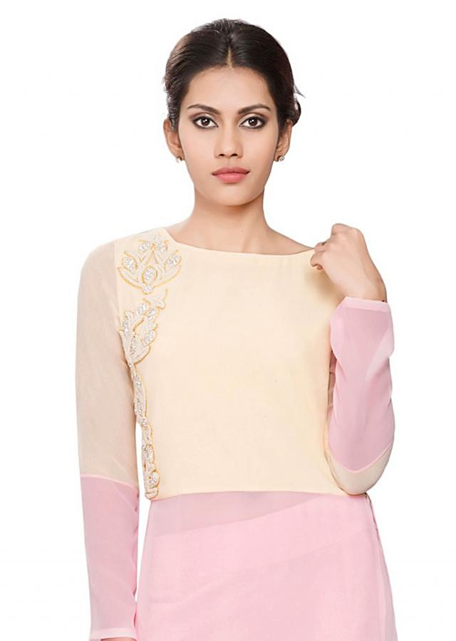 Cream and pink tunic with moti embroidery on yoke
