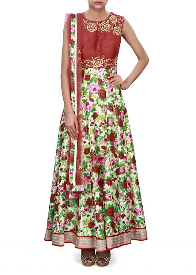 Cream and red anarkali suit adorn in floral embroidery only on Kalki