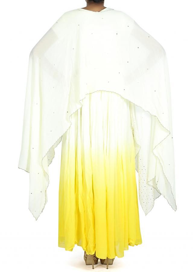 Cream and yellow anarkali matched with cape only on Kalki