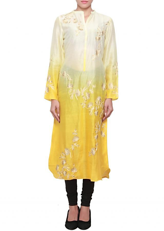 Cream and yellow, two tone silk kurti with thread and zari embroidery only on kalki