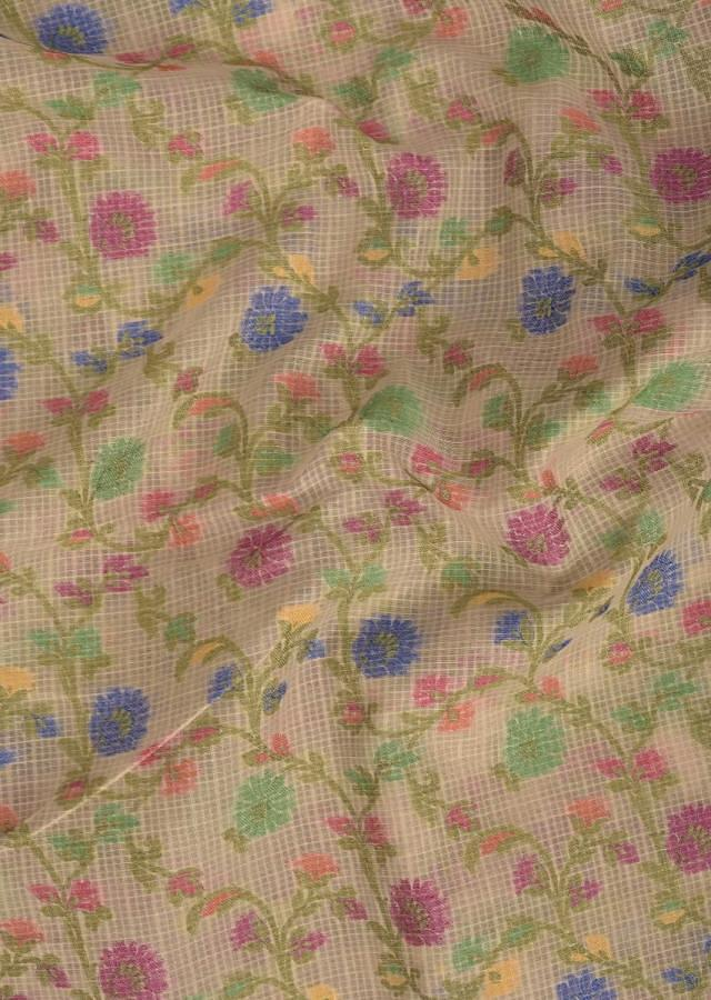 Cream Banarasi Saree In Jacquard Silk With Weaved Colorful Floral Jaal Pattern Online - Kalki Fashion