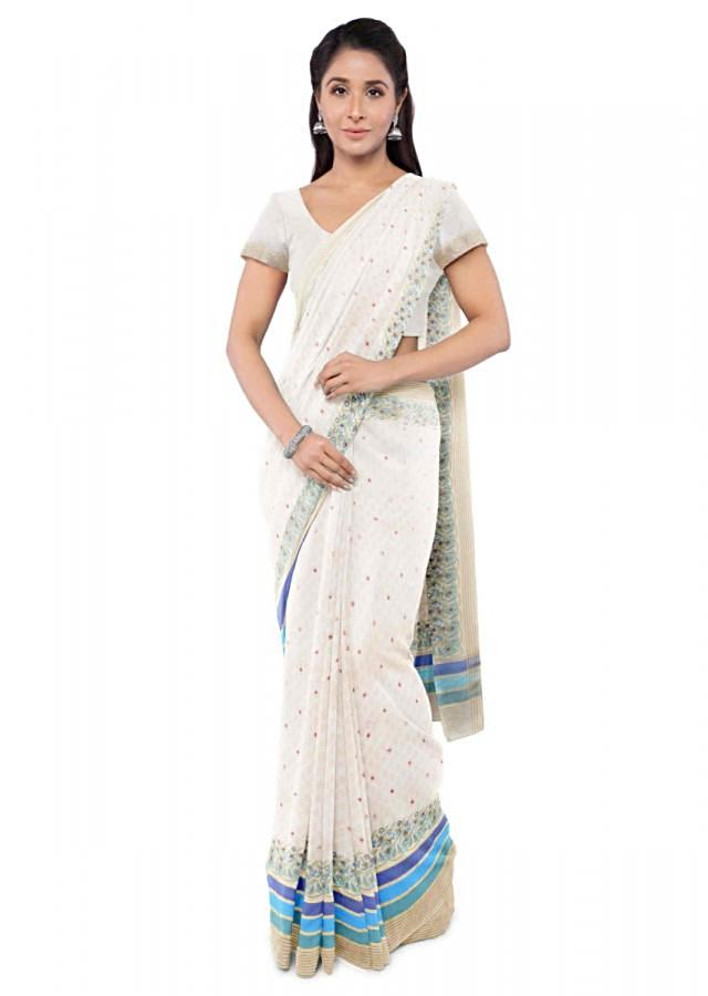 Cream Banarasi Saree With Matching Blouse Piece Online - Kalki Fashion
