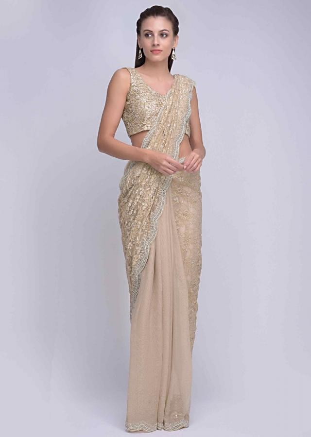 Cream beige half and half saree in chantilly lace and net only on Kalki