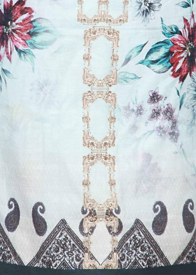 Cream blue abstract printed unstitched suit only on Kalki