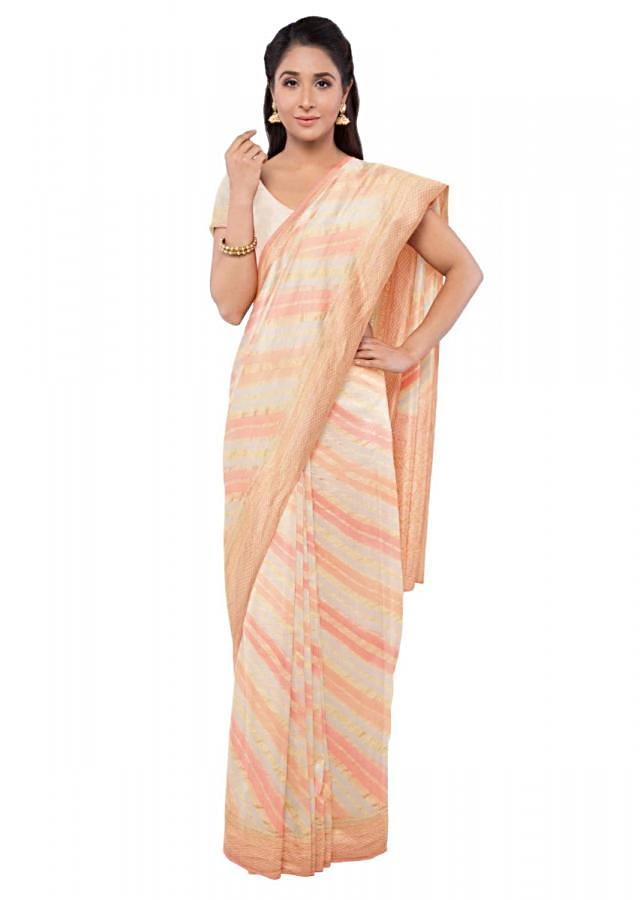Cream Banarasi Saree Inchiffon With Matching Blouse Piece Online - Kalki Fashion