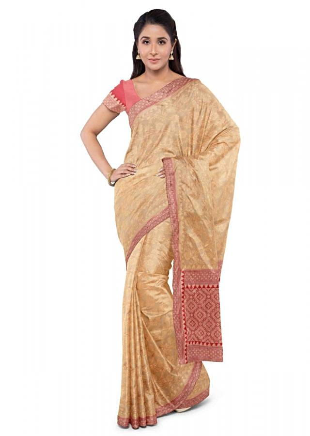 Cream Banarasi Saree In Chiffon With Floral Jaal Pattern And Red Blouse Piece Online - Kalki Fashion