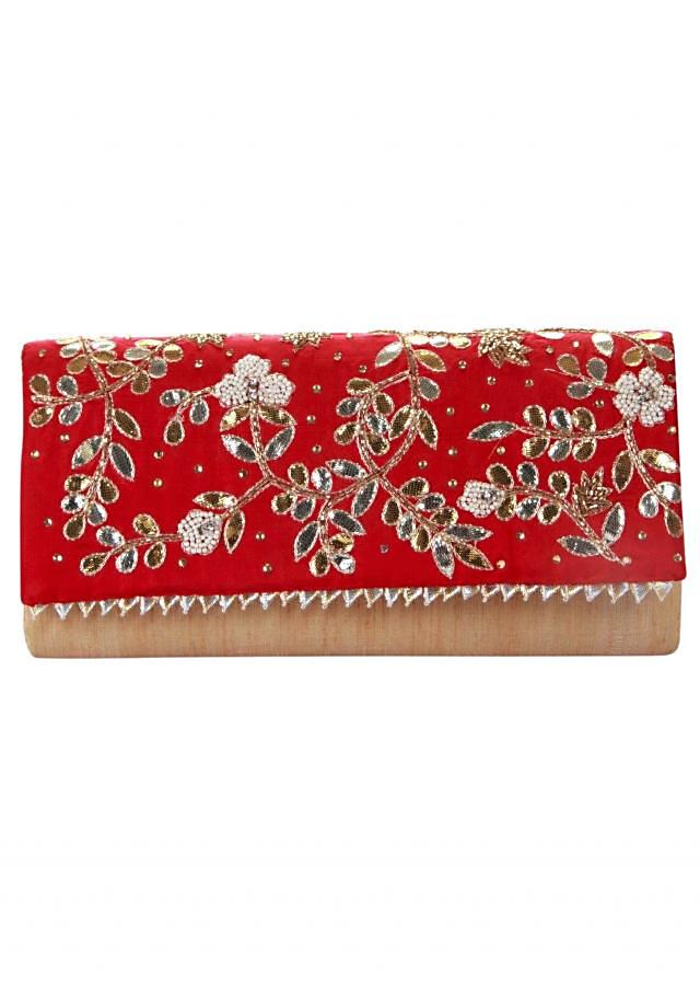 Cream clutch with red embroidered flap only on Kalki