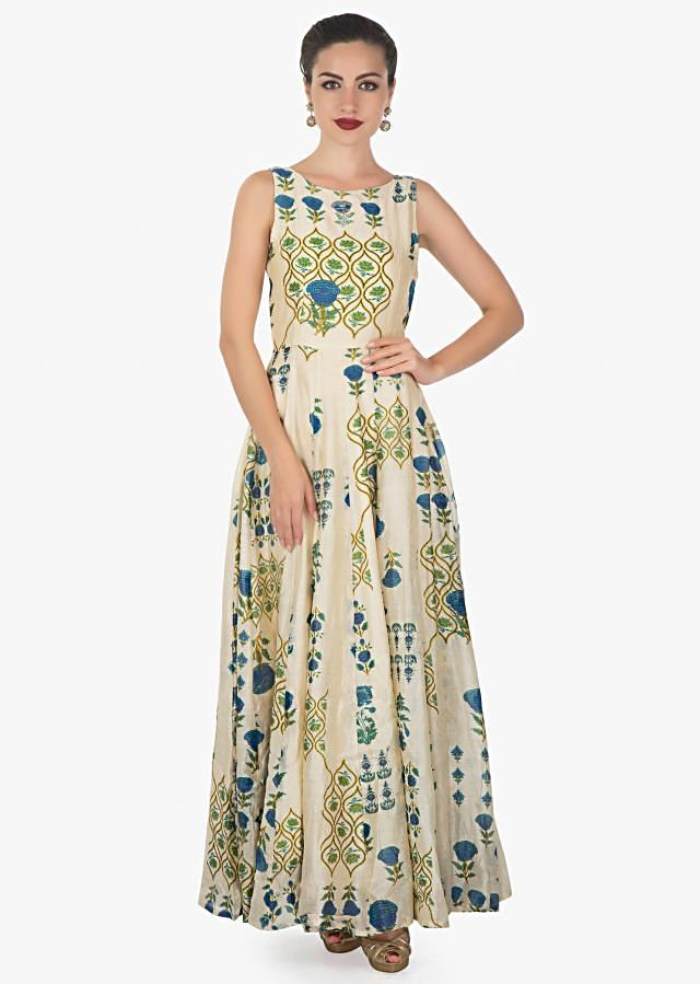 Cream cotton dress with  artistic print and a ong blue jacket only on kalki